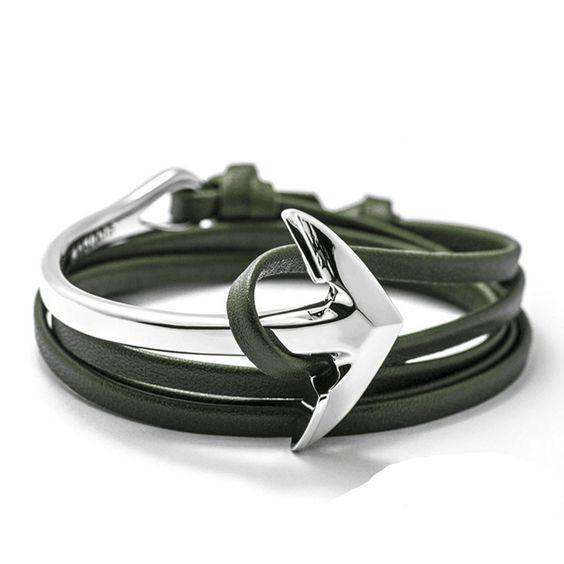 Bracelet ancre argent cuir vert
