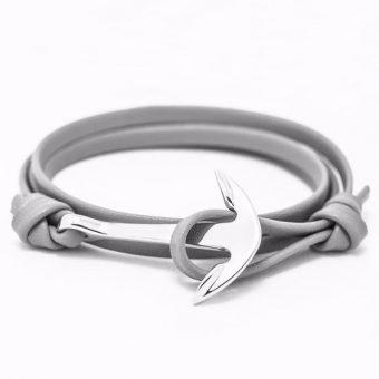 Bracelet ancre cuir femme