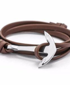 Bracelet ancre marron femme