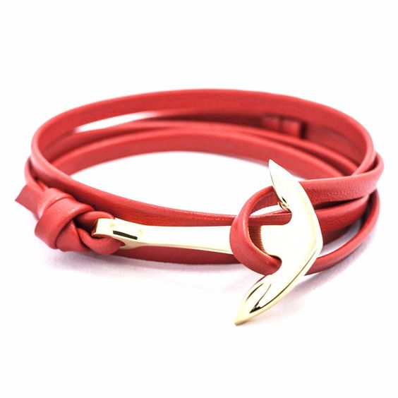 Bracelet ancre or rouge