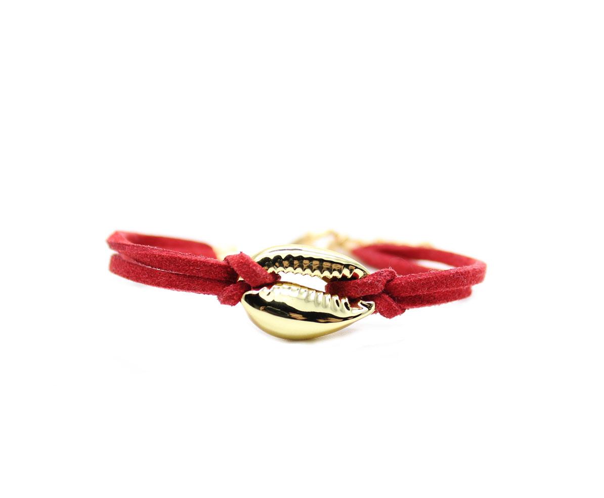 Bracelet femme cuir rouge