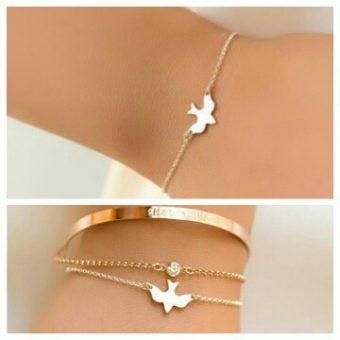 Bracelet oiseau or