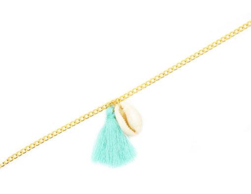 Bracelet pompon turquoise