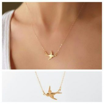 Collier hirondelle or