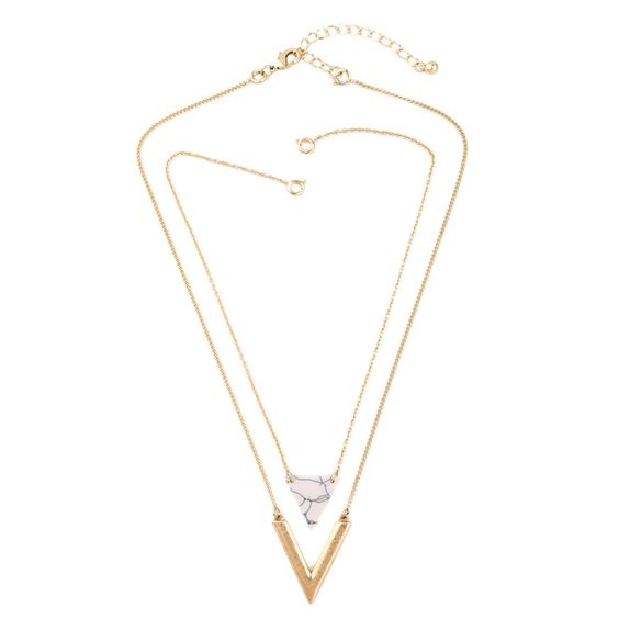 Collier multi-rangs marbre blanc