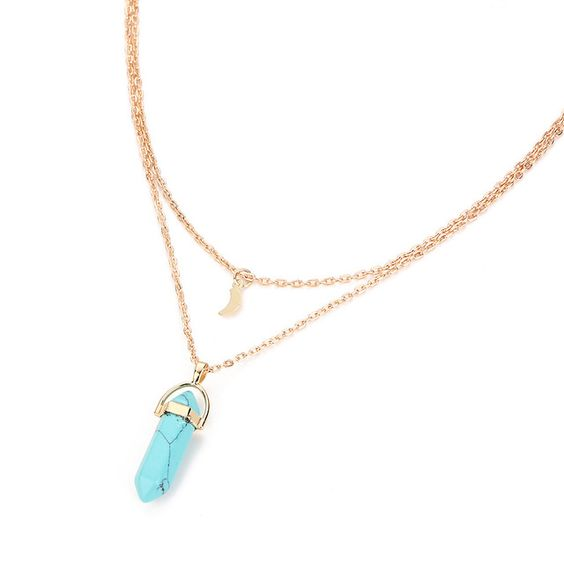 Collier multi rangs turquoise