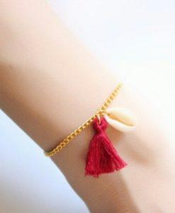 bracelet tendance pompon rouge