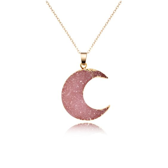 Collier lune rose or
