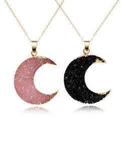 collier lune rose