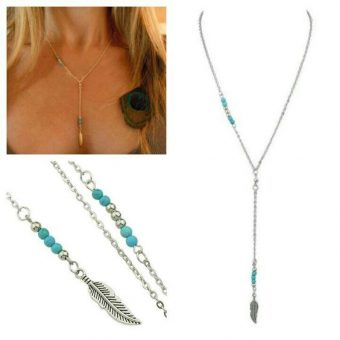 collier plume argent turquoise 2018