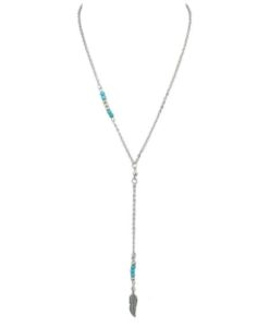 collier plume argent turquoise