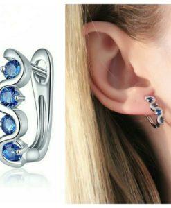 Boucles d'oreilles argent avec zirconium bleu
