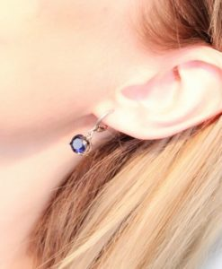 Boucles d'oreilles argent bleu
