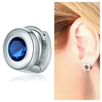 Boucles d'oreilles zirconium bleu
