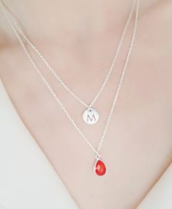 collier personnalise multi rangs rouge