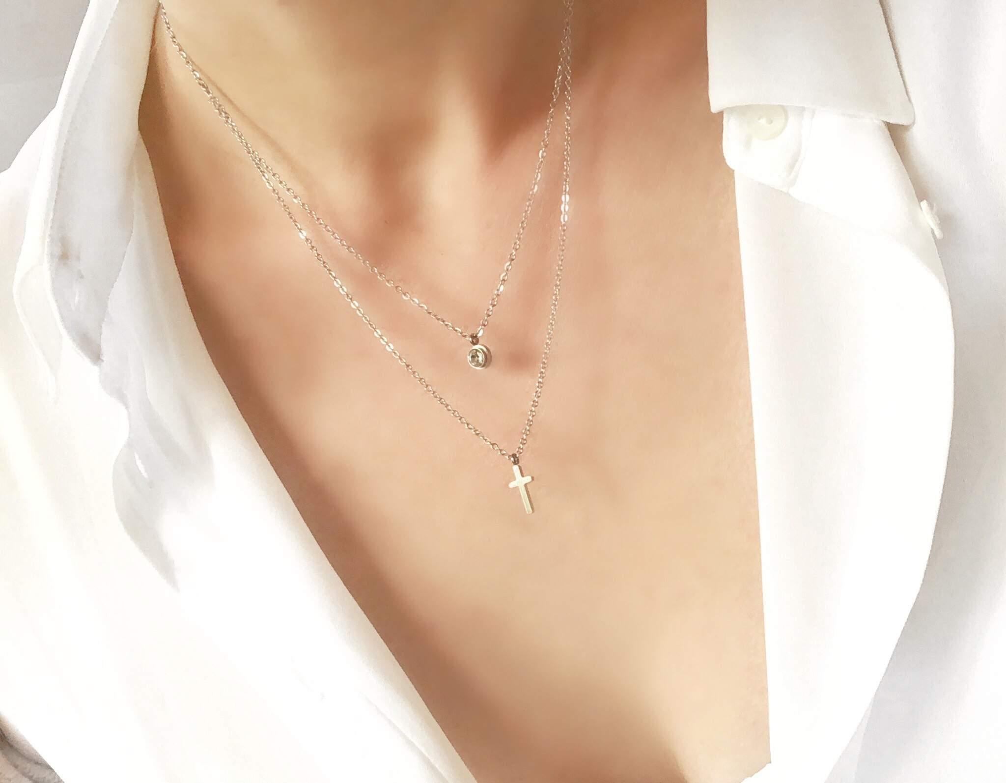 croix collier femme