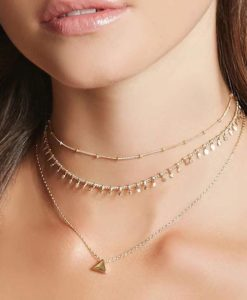 Collier femme multirang or