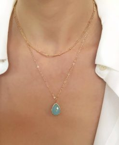Collier tendance 2019 - pierre turquoise