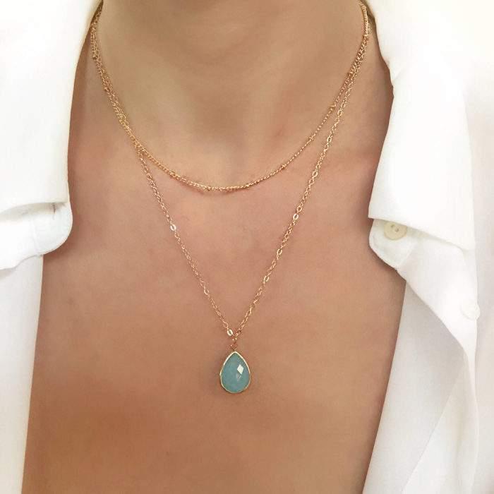 Collier tendance 2019 - pierre turquoise