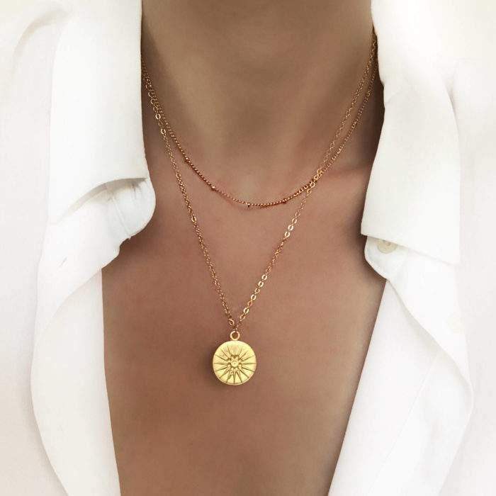 Collier tendance -multirang medaille originale