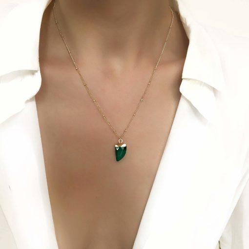 Collier tendance- pierre jade vert
