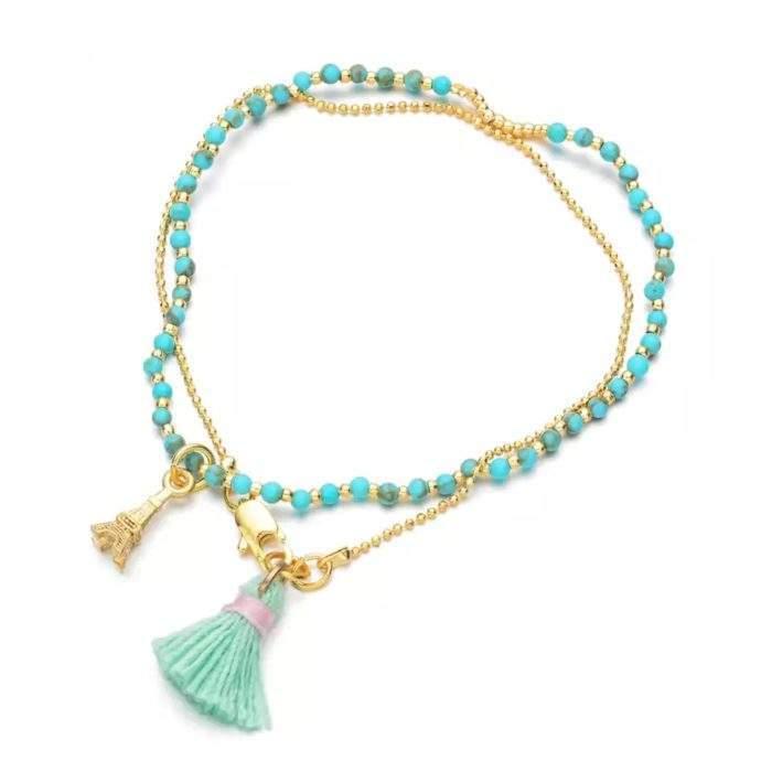 Bracelet Tour Eiffel bleu