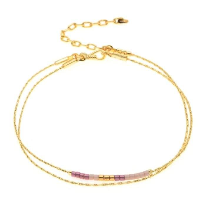 Bracelet fin plaque or