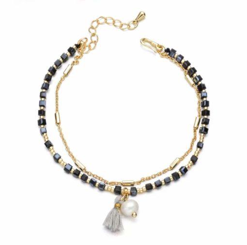 Bracelet multirangs noir