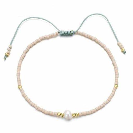 Bracelet perles rose