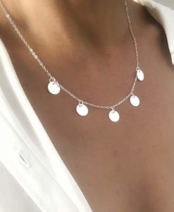 Collier argente medaillons