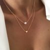 Collier double chaine pendentif coeur perle