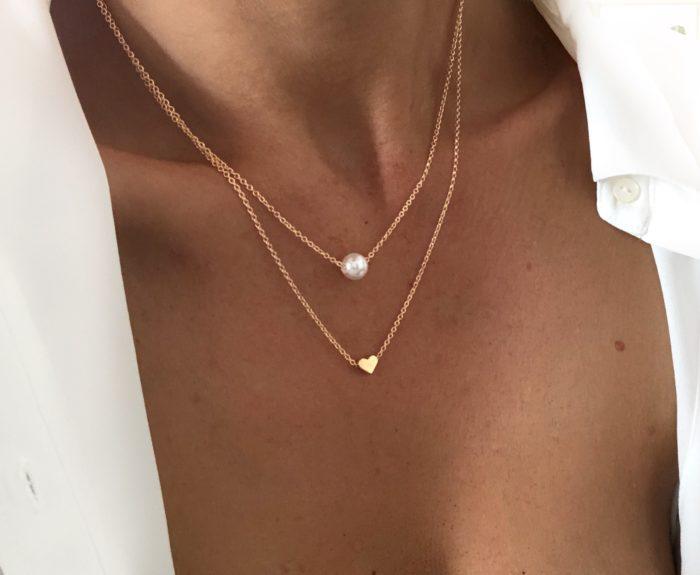 Collier double chaine pendentif coeur perle