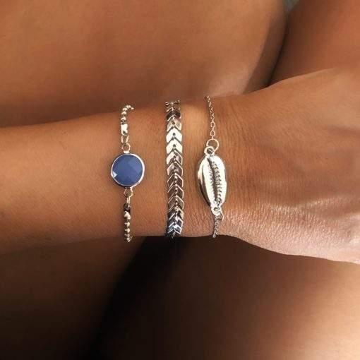 Lot de 3 bracelets argent pierre bleue