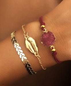 Lot de 3 bracelets chaine coquillage