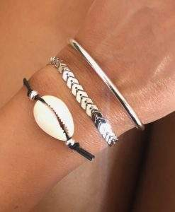 Lot de 3 bracelets coquillage argent