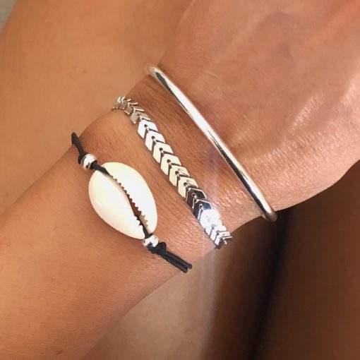 Lot de 3 bracelets coquillage argent