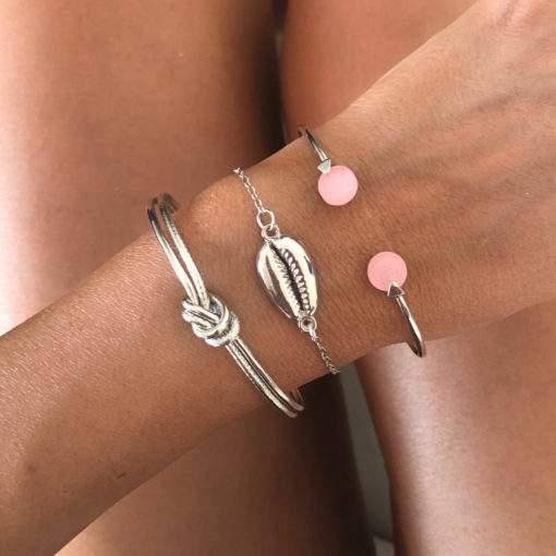 Ensemble de bracelets jonc plaque argent