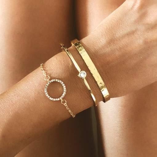 Ensemble de bracelets jonc plaque or
