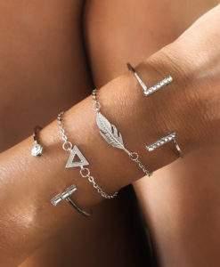 Ensemble de bracelets tendance 2019 argent