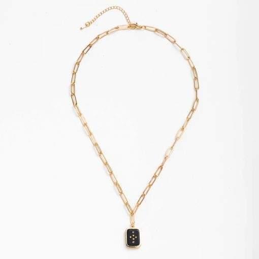 Collier chaine et pendentif emaillée