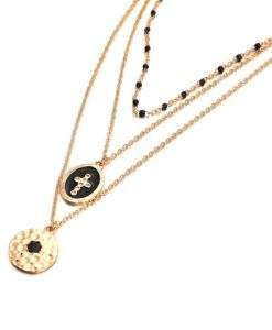 collier 3 rangs medaille emaille