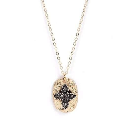 collier medaille fleur strass