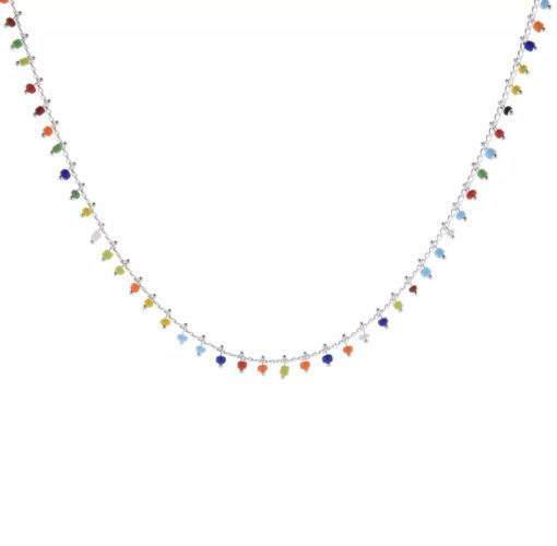 Collier multicolore argent