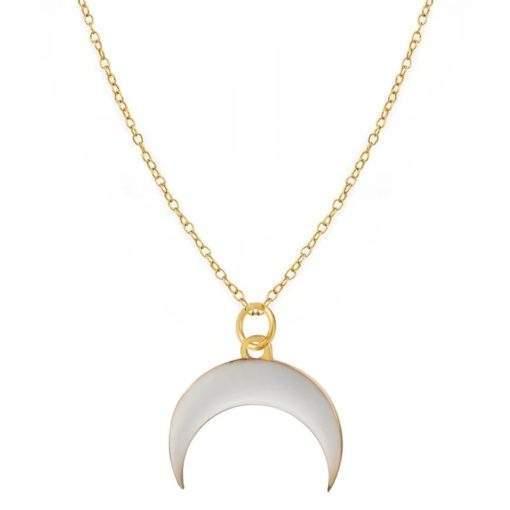 Collier tendance 2020- corne demi lune blanche