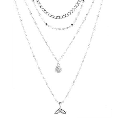 collier multirangs original argent