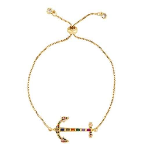 Bracelet arc en ciel- ancre marine.