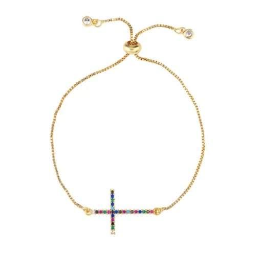 Bracelet arc en ciel - croix