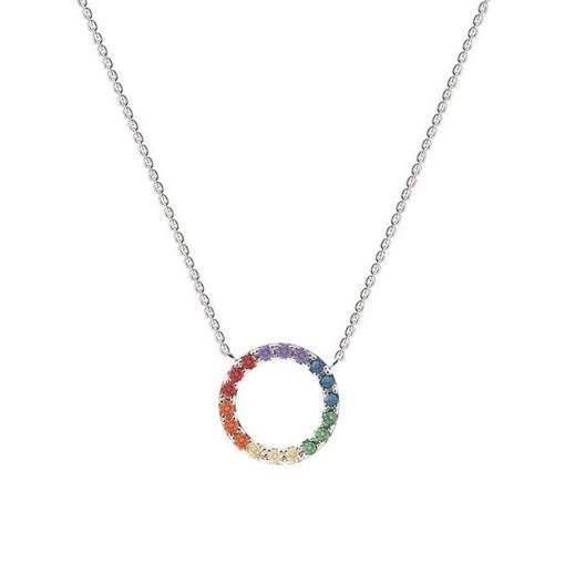Collier arc en ciel - cercle argent