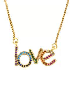 Collier arc en ciel - love