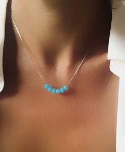 Collier argente perle bleu